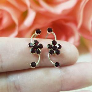 Ruby Inspired Flower Earrings
